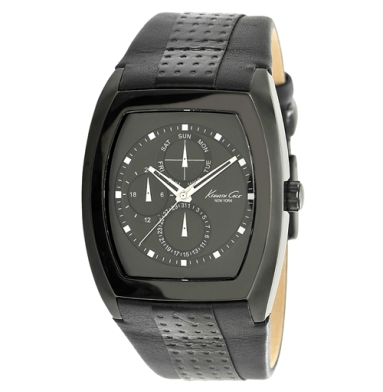 Kenneth Cole New York Rectangular Watch With Perforated Leather Strap