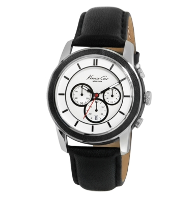 Kenneth Cole New York Silver Watch With Black Leather Strap