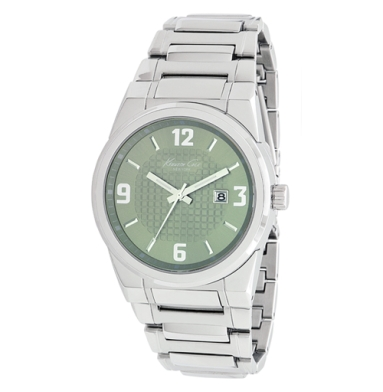 Kenneth Cole New York Green-Face Watch With Stainless Steel Link Strap