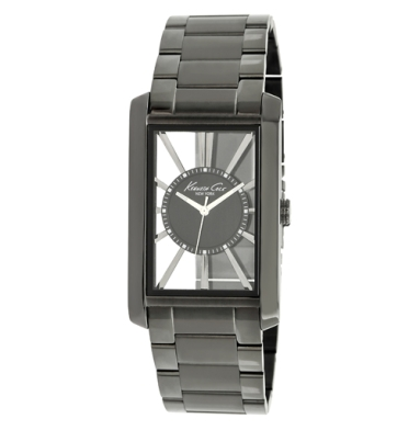 Kenneth Cole New York Rectangular Transparent Watch With Gunmetal Link Strap