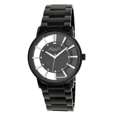 Kenneth Cole New York Transparent Watch With Black Link Strap