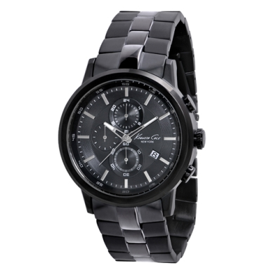 Kenneth Cole New York Chronograph Watch With Black And Gunmetal Link Strap