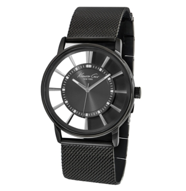 Kenneth Cole New York Transparent Watch With Gunmetal Mesh Strap