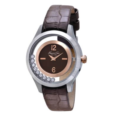 Kenneth Cole New York Crystal-Embellished Watch With Brown Croco-Embossed Strap