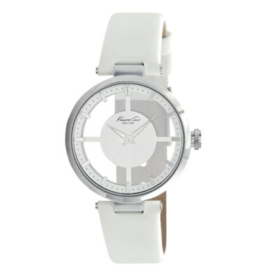 Kenneth Cole New York Transparent Watch With White Leather Strap