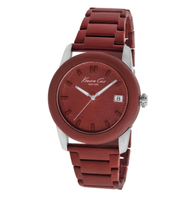 Kenneth Cole New York Bordeaux Leather-Wrapped Watch