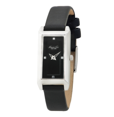 Kenneth Cole New York Rectangular Watch With Black Leather Strap