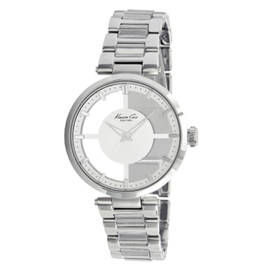 Kenneth Cole New York Transparent Watch With Silver Link Strap