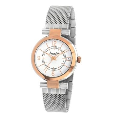 Kenneth Cole New York Silver And Rose Gold Watch With Mesh Strap