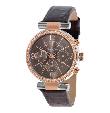 Kenneth Cole New York Multifunction Watch With Brown Croco-Embossed Strap