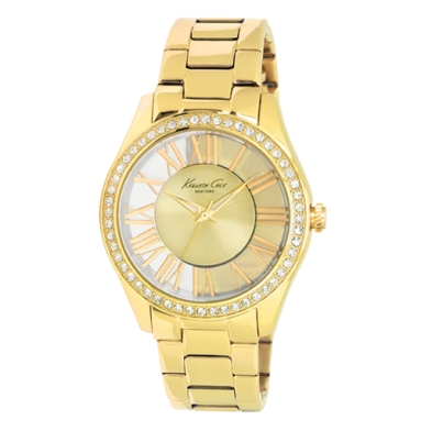 Kenneth Cole New York Transparent Watch With Gold Link Strap