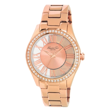 Kenneth Cole New York Transparent Watch With Rose Gold Link Strap