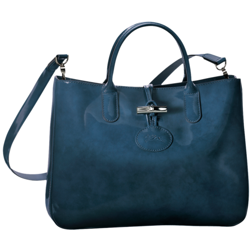 Longchamp Roseau Box Tote bag M Blue Ceder