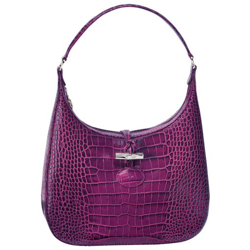 Longchamp Roseau Croco Hobo bag Fuchsia