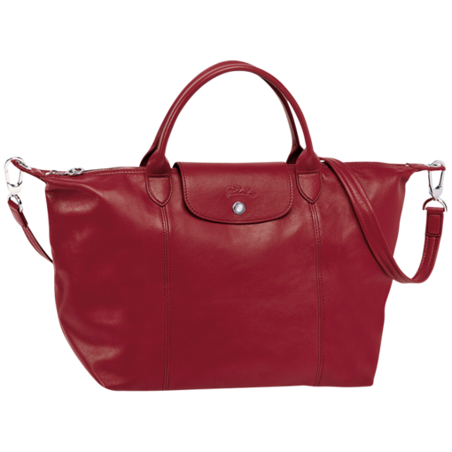 Longchamp Le Pliage Cuir Handbag Red