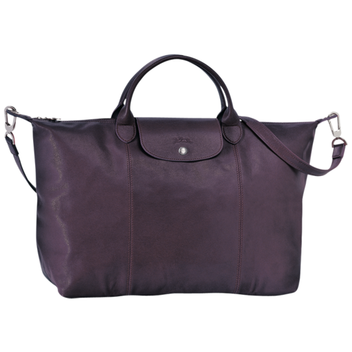 Longchamp Le Pliage Cuir Handbag Bilberry
