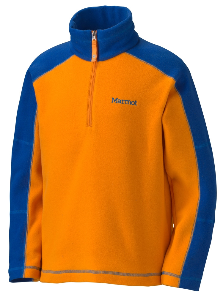 Marmot Boys Flash 1/4 Zip Dark Orange/Royal Navy