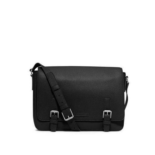 MICHAEL KORS MEN Bryant Pebbled-Leather Messenger BLACK