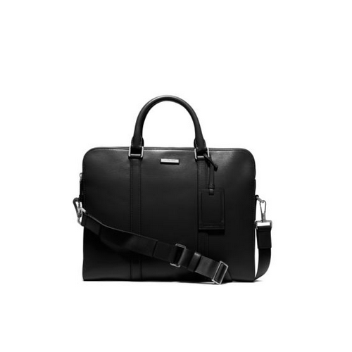 MICHAEL KORS MEN Warren Slim Leather Briefcase BLACK
