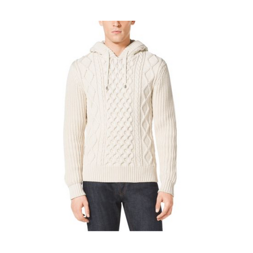 MICHAEL KORS MEN Cable-Knit Cotton-Blend Hoodie MUSLIN