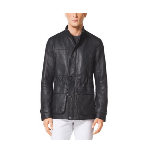 MICHAEL KORS MEN Leather Utility Jacket BLACK