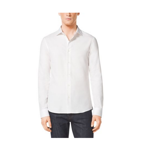 MICHAEL KORS MEN Slim-Fit Cotton Shirt WHITE