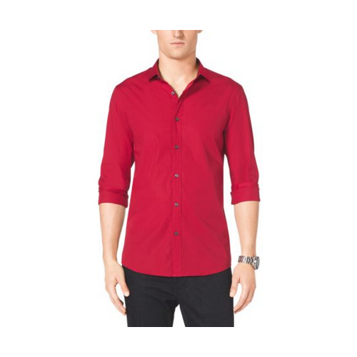 MICHAEL KORS MEN Slim-Fit Stretch-Cotton Shirt VIBRANT RED