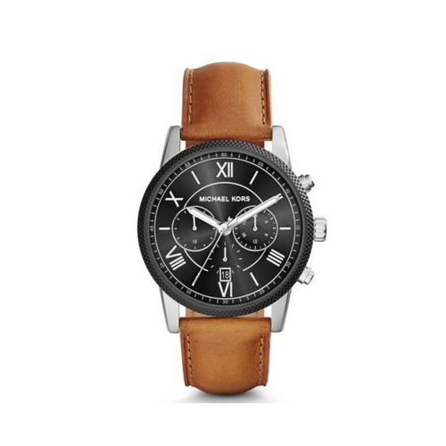 MICHAEL KORS Hawthorne Silver-Tone Leather Watch