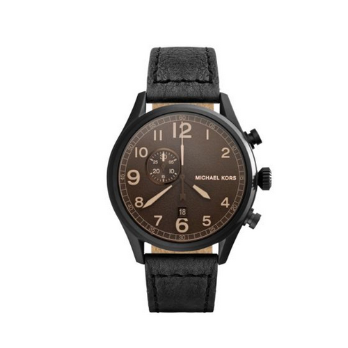 MICHAEL KORS Hangar Leather-Strap Black Watch