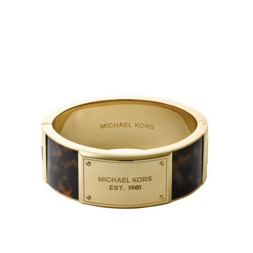 MICHAEL KORS Logo Plaque Gold-Tone And Tortoise Acetate Bangle