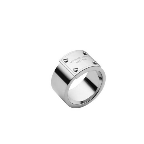 MICHAEL KORS Silver-Tone Logo Plaque Ring