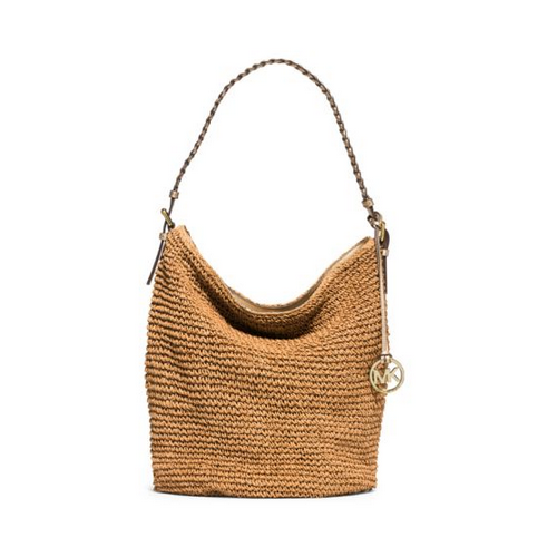 MICHAEL MICHAEL KORS Lola Large Raffia Shoulder Bag NATURAL/GOLD