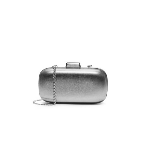 MICHAEL MICHAEL KORS Elsie Leather Dome Clutch SILVER