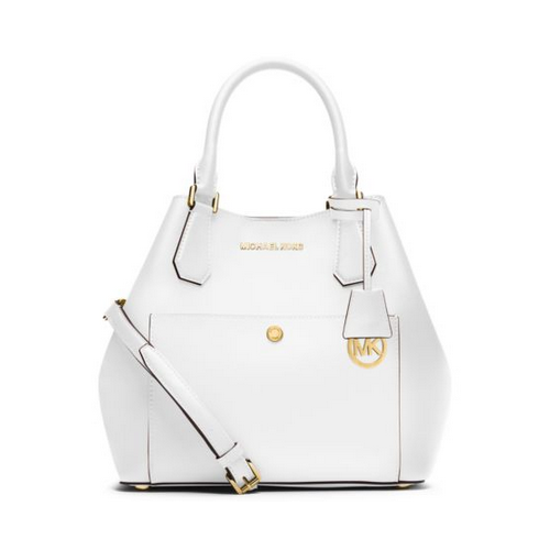 MICHAEL MICHAEL KORS Greenwich Large Saffiano Leather Satchel OPTIC WHITE/BLK