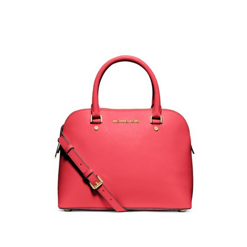 MICHAEL MICHAEL KORS Cindy Medium Saffiano Leather Satchel WATERMELON