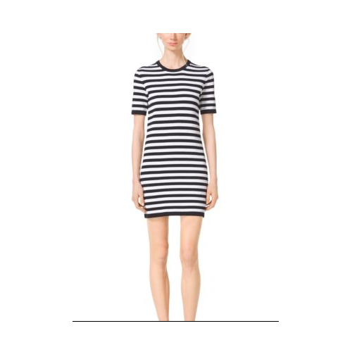 MICHAEL KORS COLLECTION Striped Compact-Cotton T-Shirt Dress BLACK/WHITE