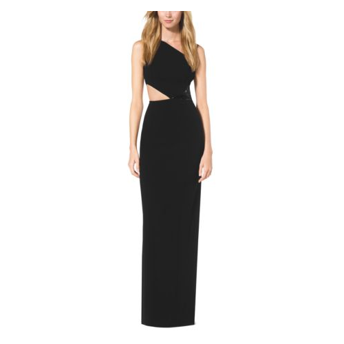 MICHAEL KORS COLLECTION Paillette-Embroidered One-Shoulder Cutout Gown BLACK