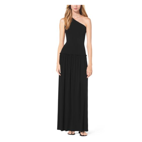 MICHAEL KORS COLLECTION One-Shoulder Jersey Maxi Dress BLACK