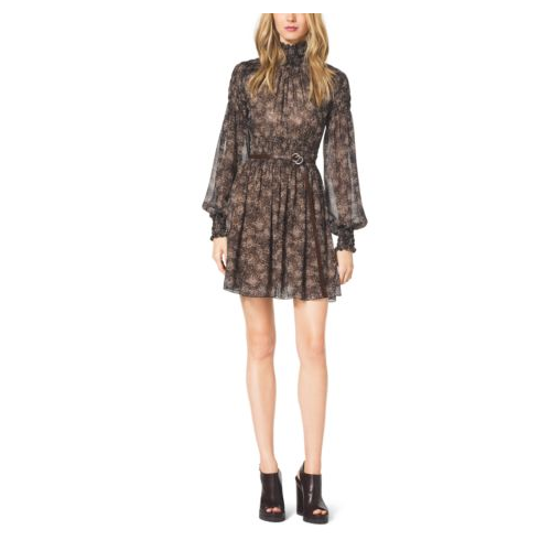 MICHAEL KORS COLLECTION Bohemian-Print Smocked Silk Chiffon Dress TAUPE