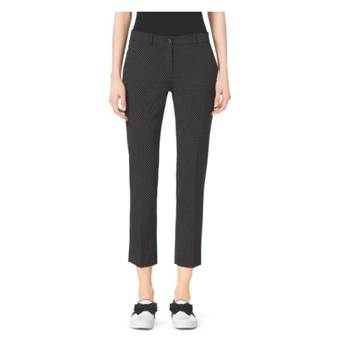 MICHAEL KORS COLLECTION Samantha Pindot Stretch-Wool Pants BLACK/WHITE