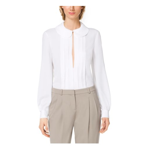 MICHAEL KORS COLLECTION Pleated Silk-Georgette Blouse OPTIC WHITE