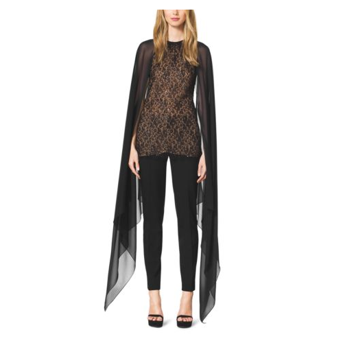 MICHAEL KORS COLLECTION Beaded Lace Cape Blouse BLACK