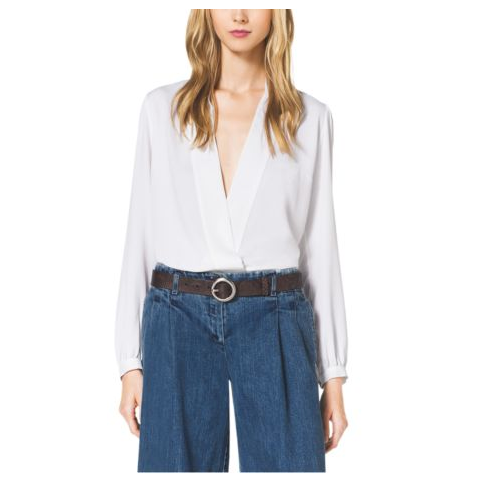 MICHAEL KORS COLLECTION Silk-Marocaine Wrap Blouse WHITE