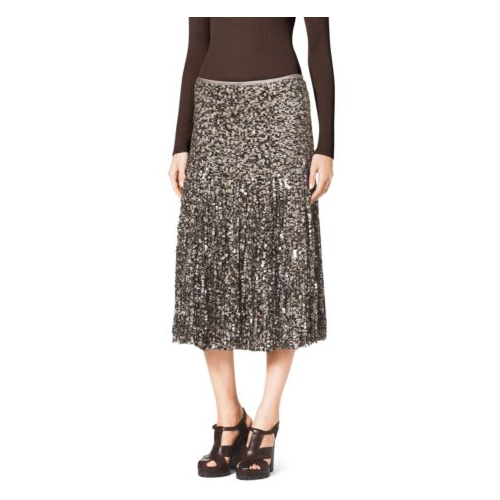 MICHAEL KORS COLLECTION Paillete Fringe Skirt NUDE