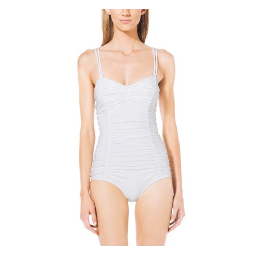 MICHAEL KORS COLLECTION Ruched Maillot Swimsuit WHITE