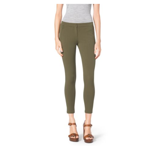 MICHAEL KORS COLLECTION Stretch Cotton-Twill Leggings JUNIPER