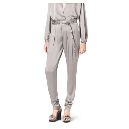 MICHAEL KORS COLLECTION Satin Charmeuse Tapered Pants BISON