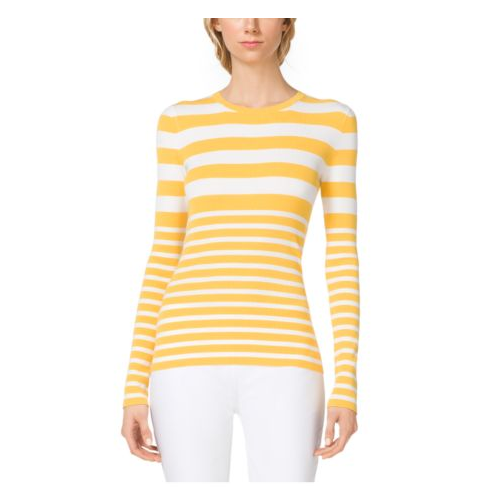 MICHAEL KORS COLLECTION Mixed-Stripe Stretch-Crepe Crewneck MARIGOLD