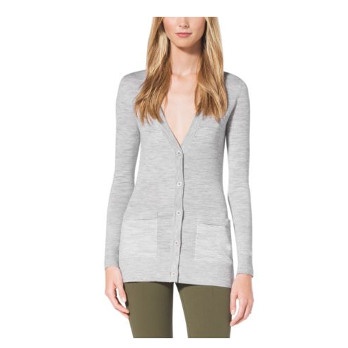 MICHAEL KORS COLLECTION Featherweight Cashmere Cardigan  PEARL GREY