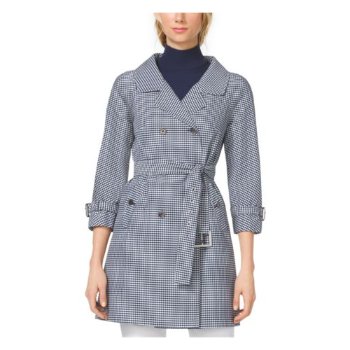 MICHAEL KORS COLLECTION Gingham Techno-Twill Trenchcoat INDIGO/WHITE